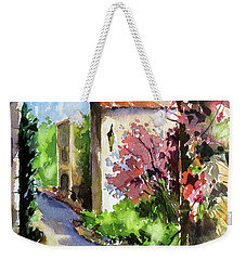 Weekender Tote Bag featuring the painting Under The Archway by Rae Andrews