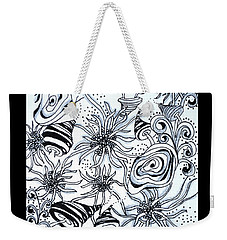 Weekender Tote Bag featuring the drawing Under The Sea by Carole Brecht