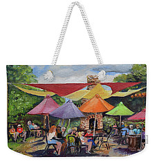 Weekender Tote Bag featuring the painting Under The Umbrellas At The Cartecay Vineyard - Crush Festival  by Jan Dappen