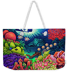 Weekender Tote Bag featuring the painting Undersea Creatures Vii by Michael Frank