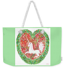 Unicorn Heart With Millefleurs Weekender Tote Bag