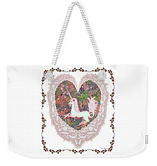 Weekender Tote Bag featuring the digital art Unicorn In A Pink Heart by Lise Winne