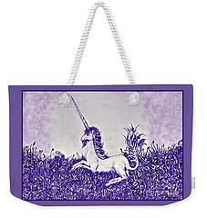 Unicorn In Purple Weekender Tote Bag by Lise Winne