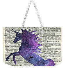 Unicorn In Space Weekender Tote Bag by Jacob Kuch