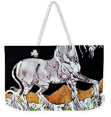 Unicorn Over Flower Field Weekender Tote Bag