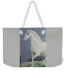 Unicorn Roaming The Grass And Flowers Weekender Tote Bag