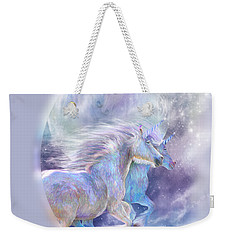 Weekender Tote Bag featuring the mixed media Unicorn Soulmates by Carol Cavalaris