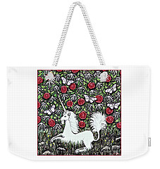 Unicorn With Red Roses And Butterflies Weekender Tote Bag