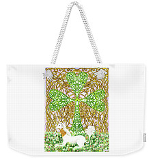 Weekender Tote Bag featuring the drawing Unicorn With Shamrock by Lise Winne