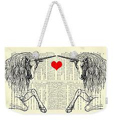 Unicorns Love Weekender Tote Bag by Madame Memento