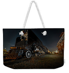 Weekender Tote Bag featuring the photograph Union Pacific Engine 844 At Rest In Fairbury Nebraska At The Rock Island Depot by Art Whitton