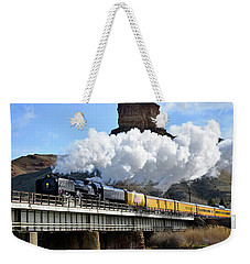 Union Pacific Steam Engine 844 And Castle Rock Weekender Tote Bag by Eric Nielsen