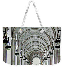Weekender Tote Bag featuring the photograph Union Station Exterior Archway by Suzanne Stout