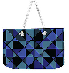 Weekender Tote Bag featuring the digital art Unique Bold Hip Blue Cyan Grey Black Geometric Pattern by Shelley Neff