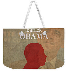 United States Of America President Barack Obama Facts Portrait And Quote Poster Series Number 44 Weekender Tote Bag by Design Turnpike