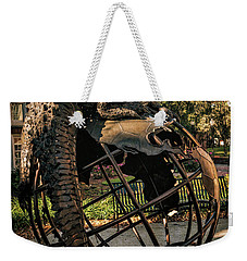 Weekender Tote Bag featuring the photograph University Of Florida Sculpture by Joan Carroll