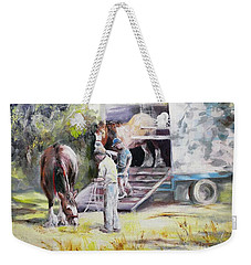 Unloading The Clydesdales Weekender Tote Bag