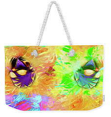 Weekender Tote Bag featuring the digital art Unmasked by John Haldane