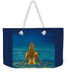 Weekender Tote Bag featuring the painting Unmasking Series 1 by Leslie Allen