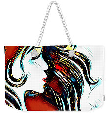 Weekender Tote Bag featuring the digital art Unrestricted-abstract by Pennie McCracken