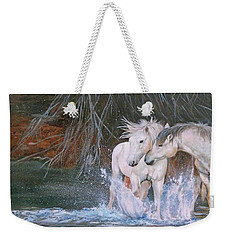 Weekender Tote Bag featuring the painting Unspoken Persuasion by Karen Kennedy Chatham