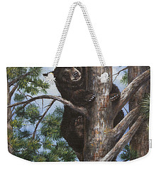 Weekender Tote Bag featuring the painting Up A Tree by Kim Lockman