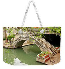 Weekender Tote Bag featuring the photograph Up And Over - San Antonio River Walk by Art Block Collections