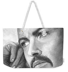 Weekender Tote Bag featuring the painting  Up Close George Michael  Black White by Patrice Torrillo