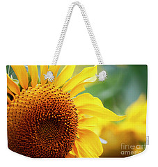 Up Close Sunflower Weekender Tote Bag