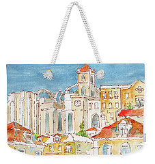 Weekender Tote Bag featuring the painting Up From Rossio Square by Pat Katz