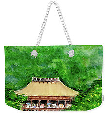 Weekender Tote Bag featuring the painting Up High Temple by Yoshiko Mishina