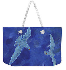 Weekender Tote Bag featuring the painting Up In The Sky by Manuel Sueess