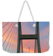 Weekender Tote Bag featuring the photograph Up On The Bridge by Kathryn Meyer