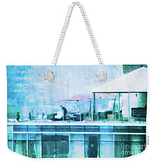 Weekender Tote Bag featuring the digital art Up On The Roof - II by Mary Machare