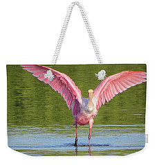 Weekender Tote Bag featuring the photograph Up, Up And Away Sanibel Spoonbill by Melinda Saminski