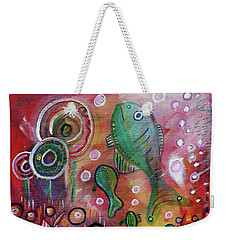 Weekender Tote Bag featuring the mixed media Up We Go  by Mimulux patricia no No