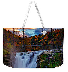 Upper Falls Letchworth State Park Weekender Tote Bag by Rick Berk