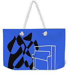 Weekender Tote Bag featuring the digital art Upright Piano In Blue by Jazz DaBri