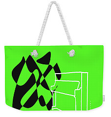 Weekender Tote Bag featuring the digital art Upright Piano In Green by Jazz DaBri