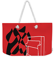 Weekender Tote Bag featuring the digital art Upright Piano In Red by Jazz DaBri