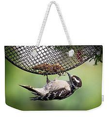 Upside Down Downy Woodpecker Weekender Tote Bag