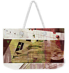 Weekender Tote Bag featuring the photograph Uptown Library With Color by Susan Stone