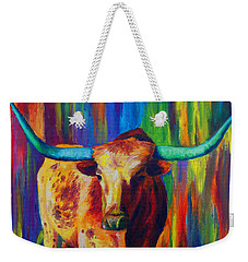 Weekender Tote Bag featuring the painting Uptown Longhorn by Karen Kennedy Chatham