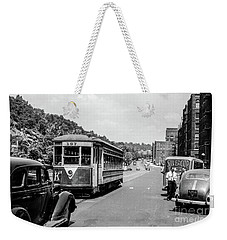 Weekender Tote Bag featuring the photograph Uptown Trolley Near 193rd Street by Cole Thompson