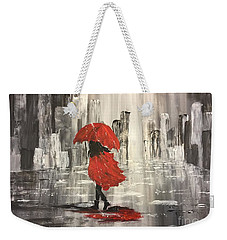 Urban Walk In The Rain Weekender Tote Bag by Lucia Grilletto