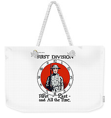 Weekender Tote Bag featuring the painting Us Army First Division - Ww1 by War Is Hell Store