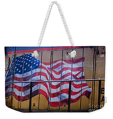 Us Flag On Side Of Freight Engine Weekender Tote Bag