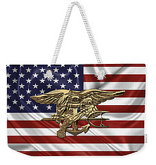 U.s. Navy Seals Trident Over U.s. Flag Weekender Tote Bag
