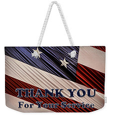 Weekender Tote Bag featuring the photograph Usa Military Veterans Patriotic Flag Thank You by Shelley Neff