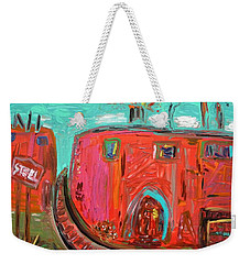 Weekender Tote Bag featuring the painting Usa Steel Still Fascinates by Mary Carol Williams